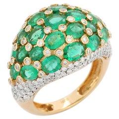5.32 carat Emerald Diamond 18 Karat Gold Galaxy Ring