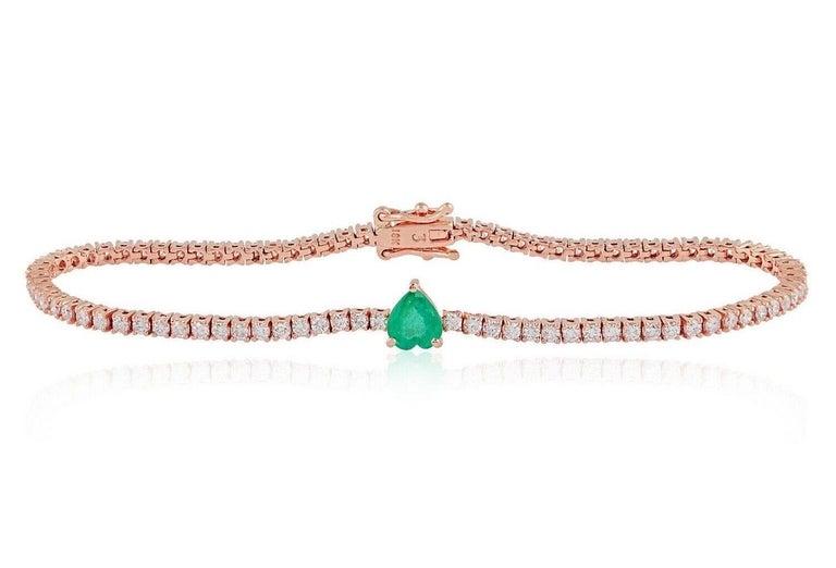 Mixed Cut Emerald Diamond 18 Karat Gold Heart Bracelet For Sale