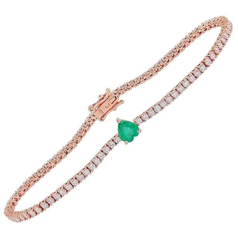 Emerald Diamond 18 Karat Gold Heart Bracelet For Sale