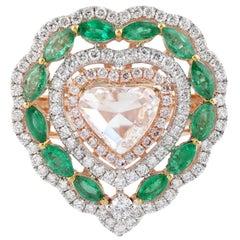 Emerald Diamond 18 Karat Gold Heart Ring