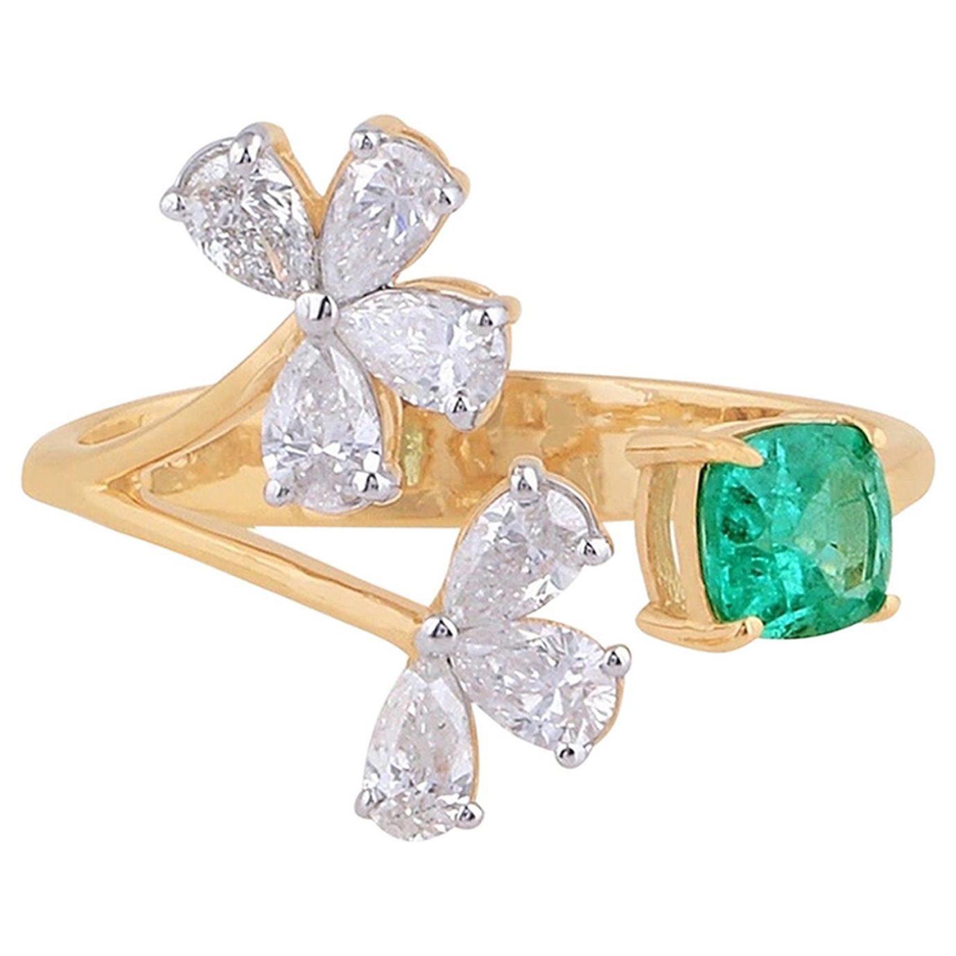 Emerald Diamond 18 Karat Gold Open Ring