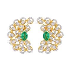 Emerald Diamond 18 Karat Gold Peacock Earrings