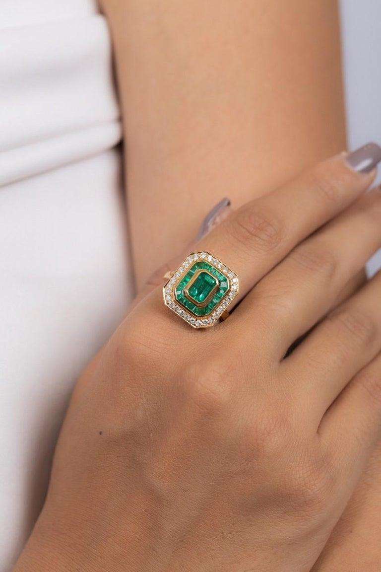 Octagon Cut Emerald Diamond 18 Karat Gold Ring For Sale