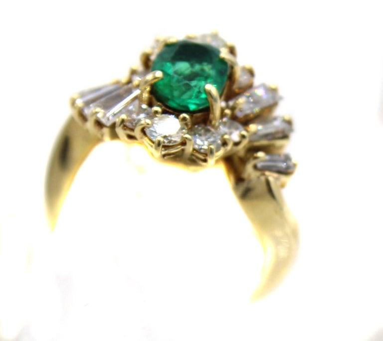 Emerald Diamond 18 Karat Gold Ring For Sale 1