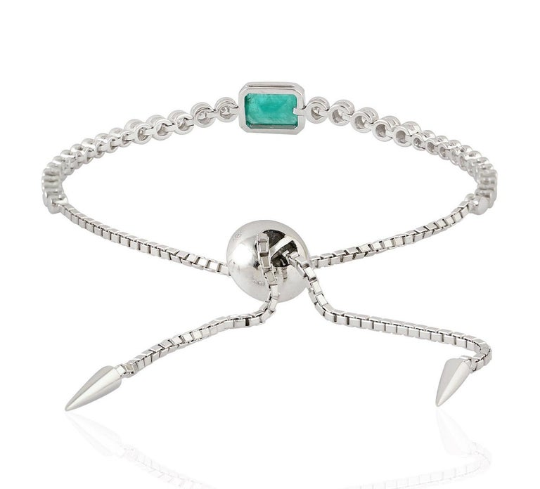 Artisan Emerald Diamond 18 Karat Gold Slider Tennis Bracelet For Sale