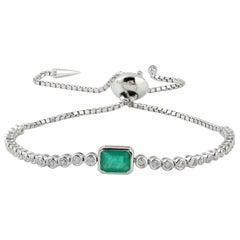 Emerald Diamond 18 Karat Gold Slider Tennis Bracelet