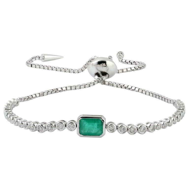 Emerald Diamond 18 Karat Gold Slider Tennis Bracelet For Sale