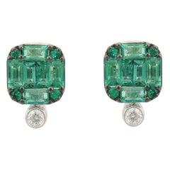 Emerald Diamond 18 Karat Gold Square Baguette Stud Earrings