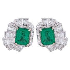 Emerald Diamond 18 Karat Gold Stud Earrings