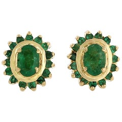 Emerald Diamond 18 Karat Gold Stud Earrings