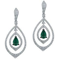 Emerald Diamond 18 Karat White Gold Earrings