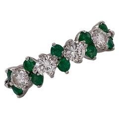 Emerald Diamond 18 Karat White Gold Estate Band Ring
