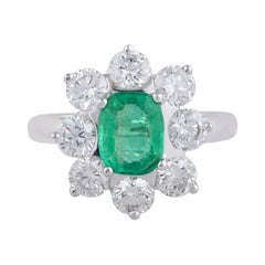 Emerald Diamond 18 Karat White Gold Floral Ring