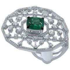 Emerald Diamond 18 Karat White Gold Galaxy Ring
