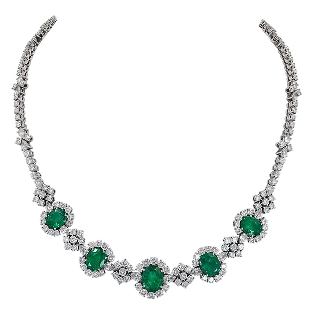 Emerald Diamond 18 Karat White Gold Necklace