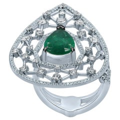 2.01 carats Emerald Diamond 18 Karat White Gold Galaxy Ring