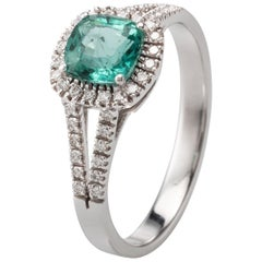 Emerald Diamond 18 Karat White Gold Ring