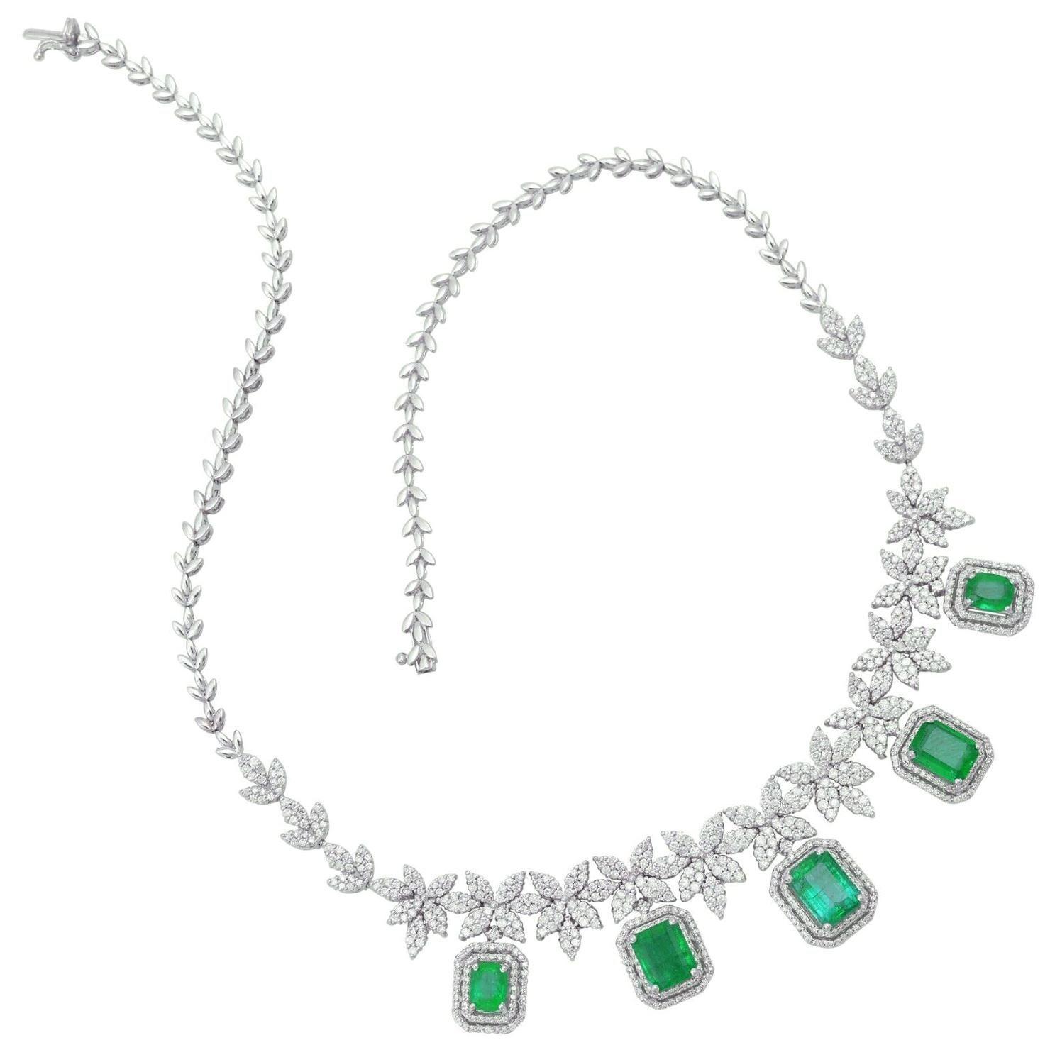 Emerald Diamond 18 Karat White Gold Statement Necklace