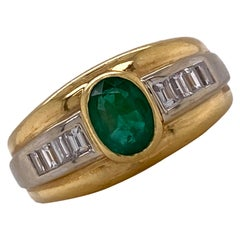 Emerald Diamond 18 Karat Yellow and White Gold Vintage Band Ring