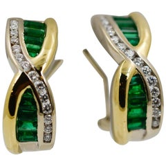 Emerald, Diamond, 18 Karat Yellow Gold and Platinum Earrings