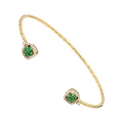 Emerald Diamond 18 Karat Yellow Gold Cuff Bracelet