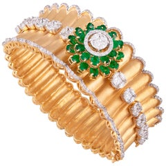 Emerald Diamond 18k Yellow Gold Cuff Bracelet