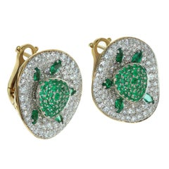 Emerald Diamond 18 Karat Yellow Gold Earrings