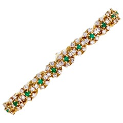 Emerald Diamond 18 Karat Yellow Gold Link Bracelet