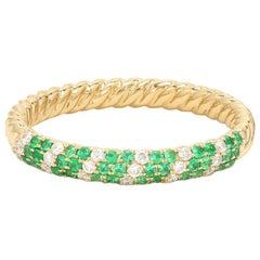 Emerald Diamond 18 Karat Yellow Gold Ring Band