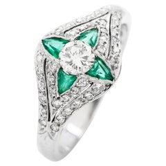 Emerald Diamond 18K Gold Delicate Floral Pinkey Ring