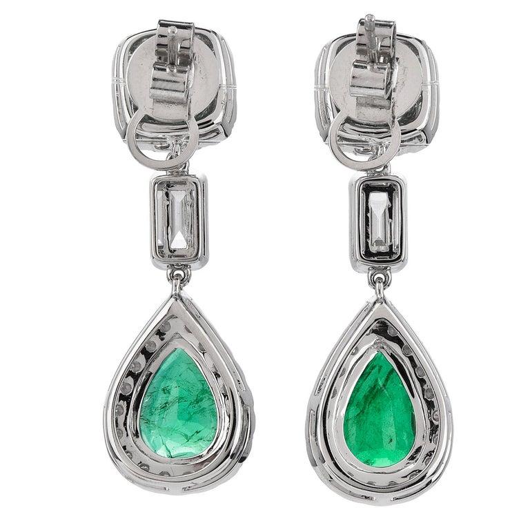 Pear Cut Emerald Diamond 18K Gold Elegant Dangle Drop Earrings