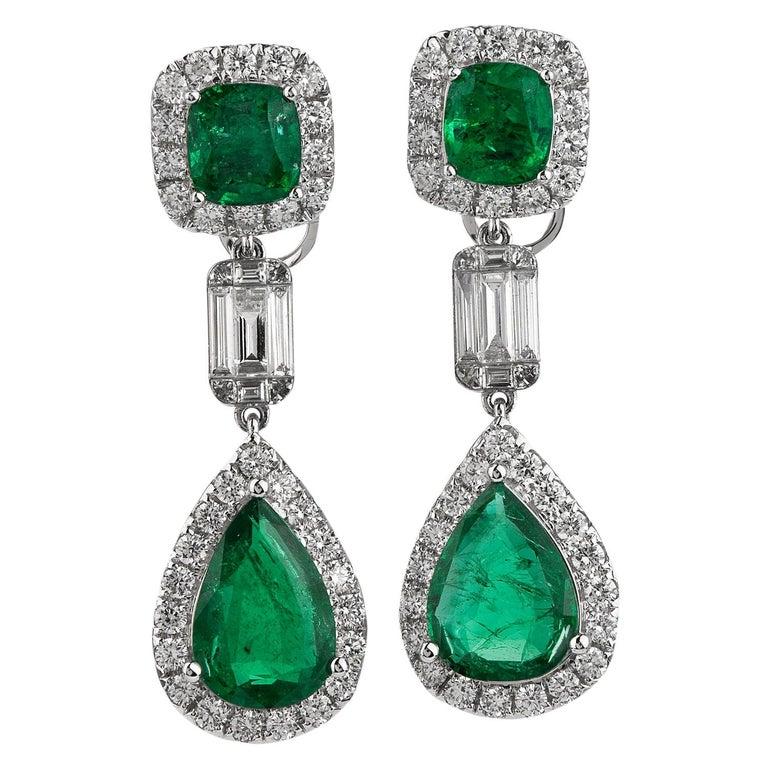 Emerald Diamond 18K Gold Elegant Dangle Drop Earrings