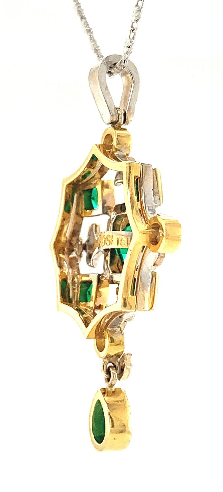 Artisan Emerald & Diamond, White, Yellow Gold Drop