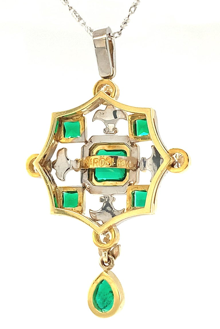 Emerald Cut Emerald & Diamond, White, Yellow Gold Drop