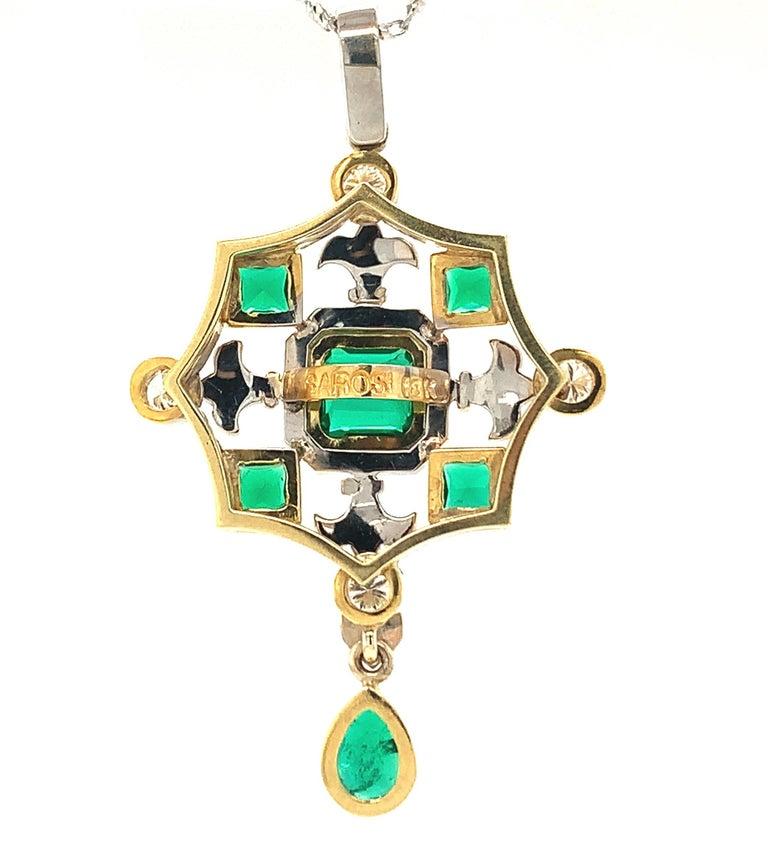 Emerald & Diamond, White, Yellow Gold Drop