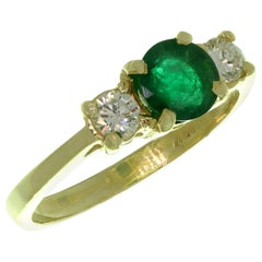 Emerald Diamond 3-Stone Yellow Gold Ring