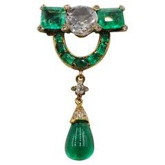 Emerald, Diamond and 18 Carat Gold Brooch