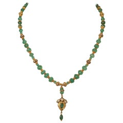 Emerald, Diamond and 22 Karat Gold Pendant Necklace by Deborah Lockhart Phillips