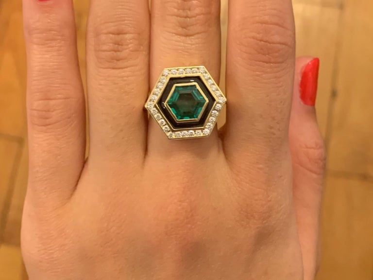 Hexagon Cut Emerald, Diamond and Enamel Hexagonal Museum Series Ring in 18 Karat Yellow Gold For Sale