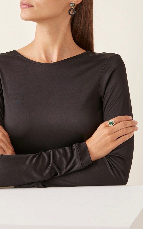 Women's or Men's Emerald, Diamond and Enamel Hexagonal Museum Series Ring in 18 Karat Yellow Gold For Sale