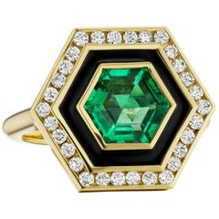 Emerald, Diamond and Enamel Hexagonal Museum Series Ring in 18 Karat Yellow Gold