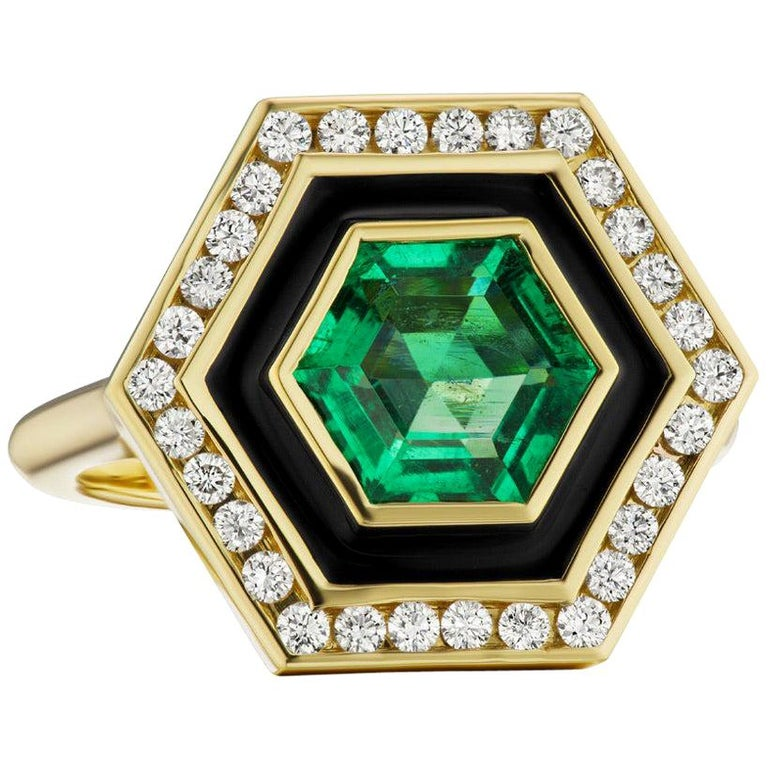 Emerald, Diamond and Enamel Hexagonal Museum Series Ring in 18 Karat Yellow Gold For Sale