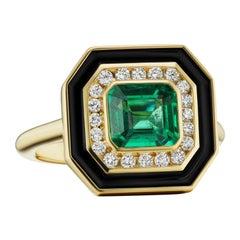 Emerald, Diamond and Enamel Museum Series Ring