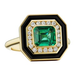 Emerald, Diamond and Enamel Museum Series Ring