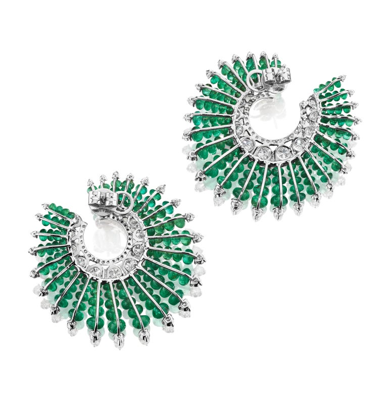 Bead Siegelson Emerald Diamond and Enamel Spiral Hoop Earrings  For Sale