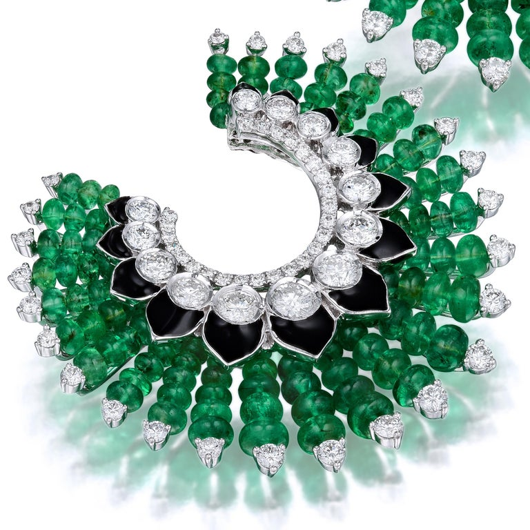 Siegelson Emerald Diamond and Enamel Spiral Hoop Earrings  In New Condition For Sale In New York, NY