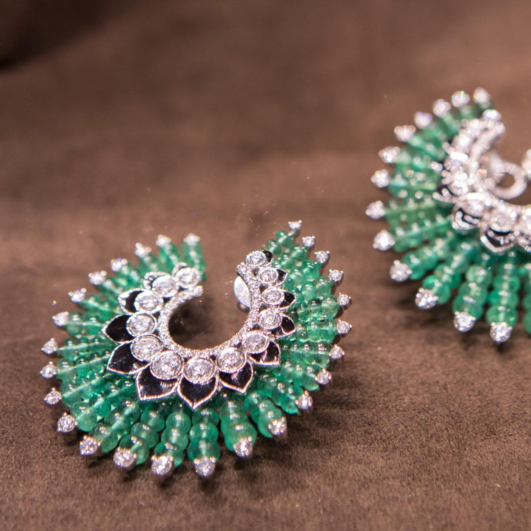 Women's Siegelson Emerald Diamond and Enamel Spiral Hoop Earrings  For Sale