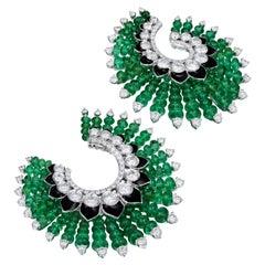 Siegelson Emerald Diamond and Enamel Spiral Hoop Earrings