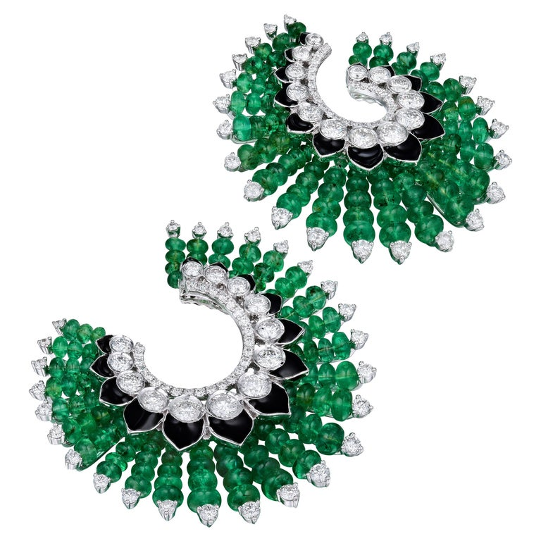 Siegelson Emerald Diamond and Enamel Spiral Hoop Earrings  For Sale