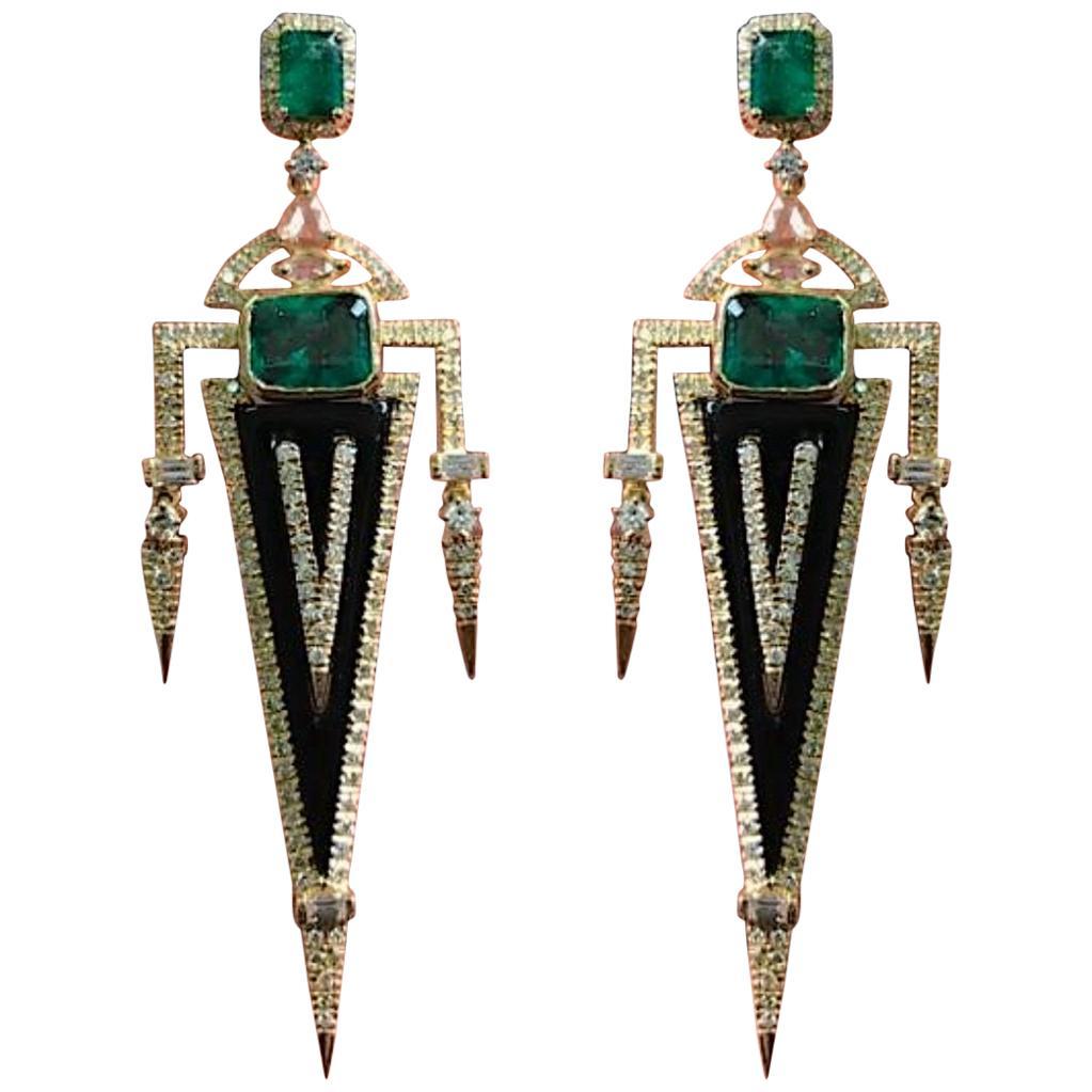 Emerald, Diamond and Onyx Dangle Earrings in 18 Karat Yellow Gold